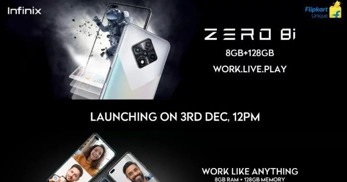 Infinix Zero 8i landing page appear on Flipkart, Confirm to launch on December 3