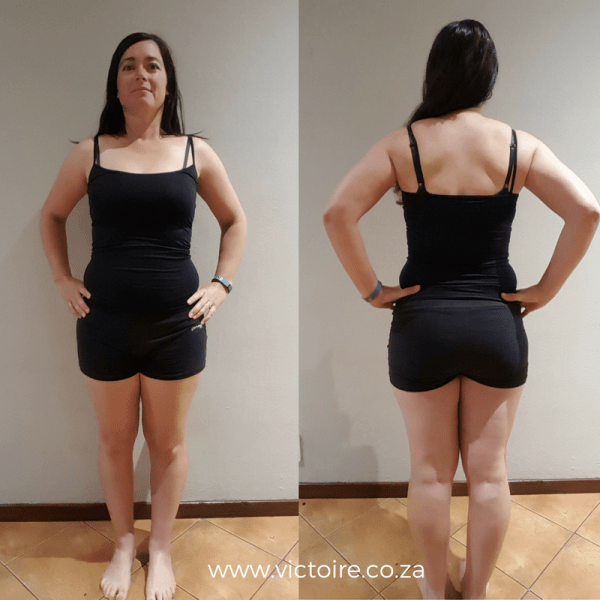 Belly fat challenge Victoire Week 4 Front Back