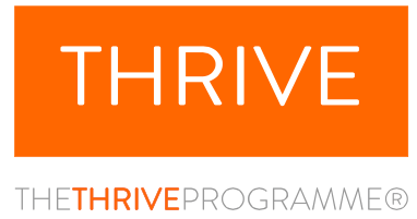 Thrive Programme logo with white writing on an orange background