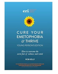 Emetophobia Thrive Young Person's edition front cover showing sunflower and blue background