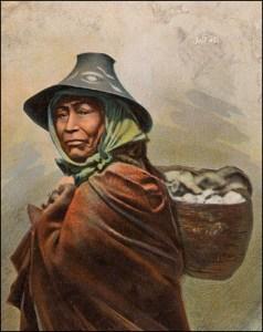 Songhees woman selling clams