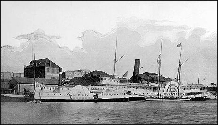 Ameila and Olympia at the Turner Beeton wharf on the 1890's