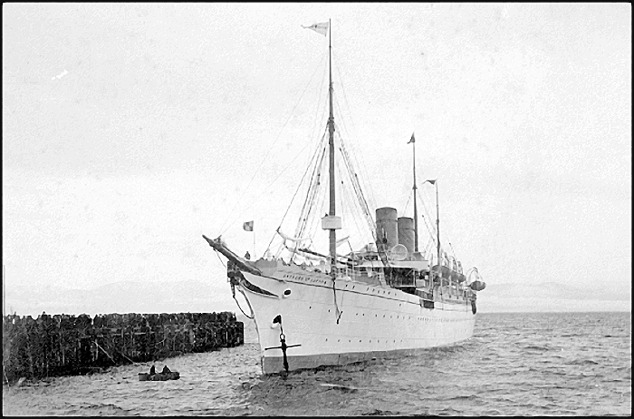 RMS Empress of Japan arriving at Rithet's Piers in Victoria's Outer Harbour