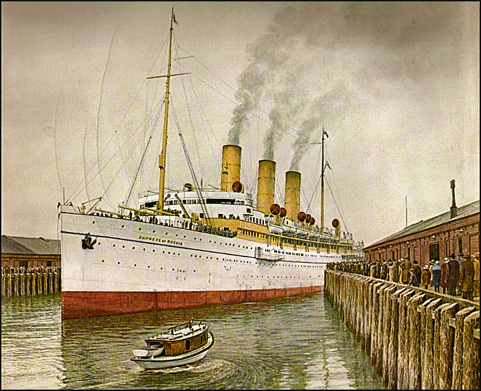 Greeting the arrival of RMS Empress of Russia at Rithet's Piers.