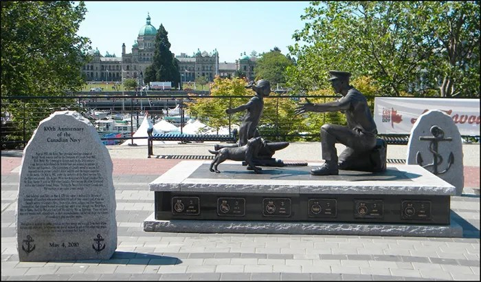 """""""The Homecoming"""" by sculptor Nathan Scott captures that magical and special moment when a sailor returns home to family and community. Each memorial brick celebrates our gratitude for the tens of thousands of Canadians who answered both the call of their country and of the sea through the first century of Canada's Naval Service."""