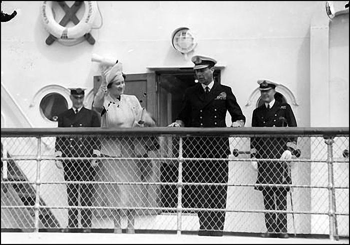 "King George VI and Queen Elizabeth on the deck of the S.S. ""Prince Robert"""