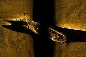 A sonar image of HMS Erebus. Parks Canada