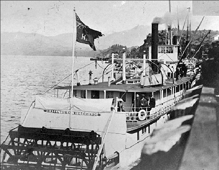 The sternwheeler Hazelton, laid down in Victoria in 1900, launched in 1901 for service on the Skeena River. Image: Wikipedia