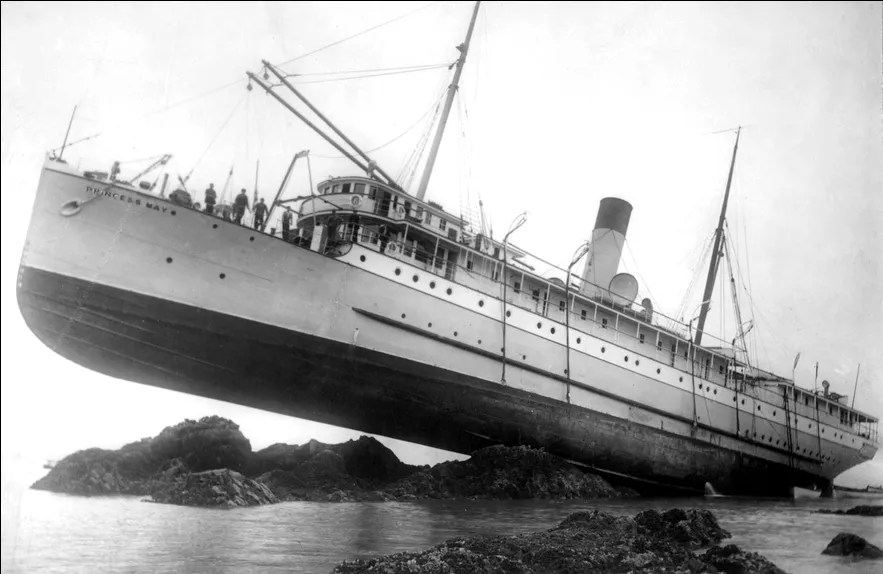 Princess May high and dry in August, 1910