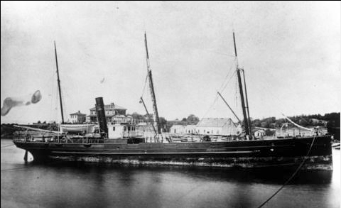SS Sardonyx in Victoria Harbour in 188- Courtesy of BC Archives A-00141