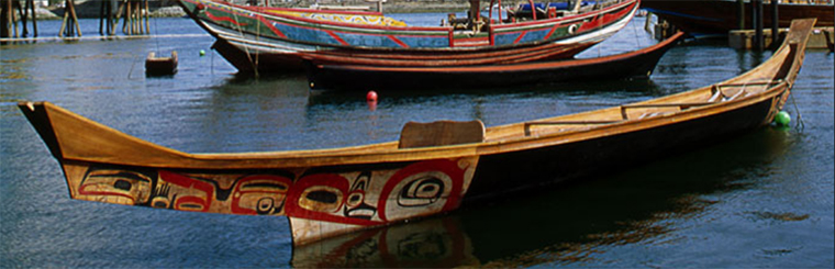 Lootaas (Wave Eater) was carved by the Haida artist Bill Reid. The vessel inspired a resurgence of traditional canoe building and voyaging in the Pacific Northwest