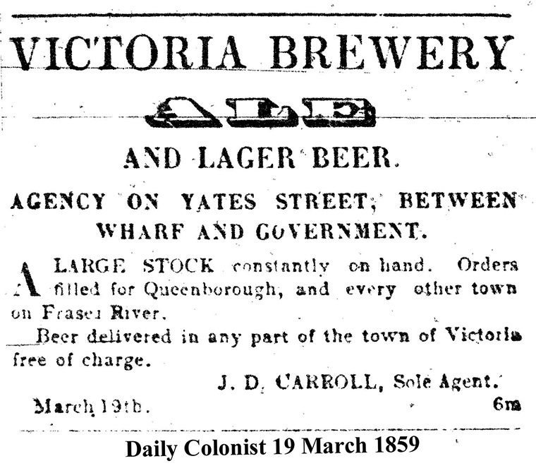 A very early Victoria Brewery ad. Note the offer to deliver via steamboat to Queensborough (New Westminster) or anywhere else on the Fraser