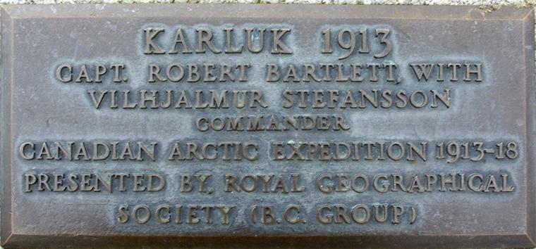 Upper Causeway plaque number 46 - HMCS Karluk and Captain Bartlett.