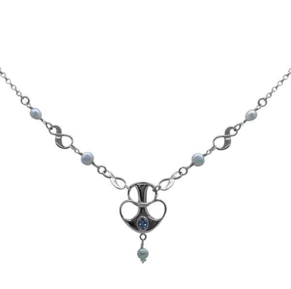 Helena swirl pendant blue topaz