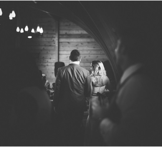 Bride and groom's grand entrance to the reception at Lions Park Cabins