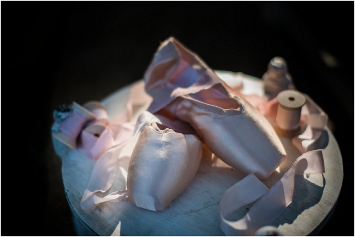 Pink ballet shoes used for wedding