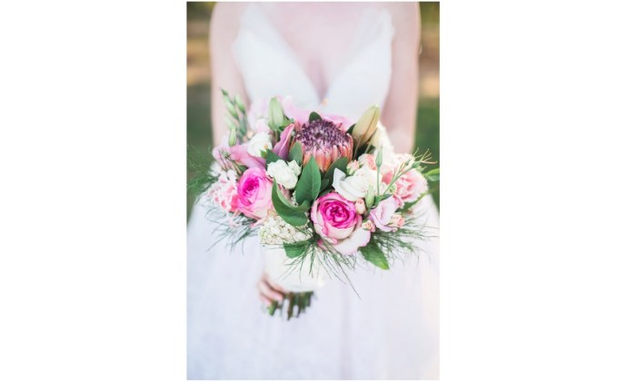 Beautiful bridal bouquet with pink, white and purple elements