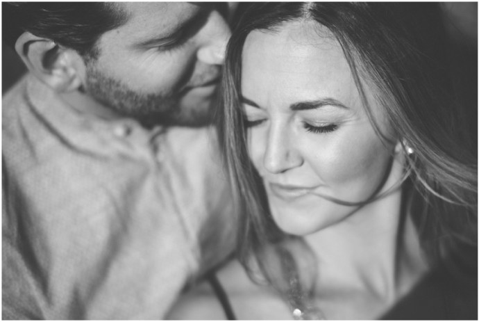 Black and white artistic engagement photograph bringing out the emotion of the image