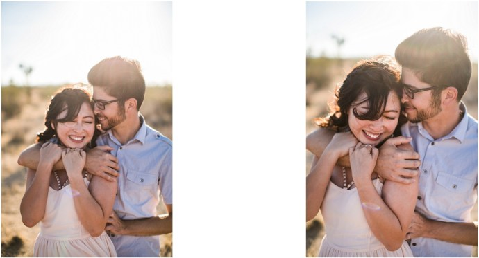 Engaged Los Angeles couple in desert setting