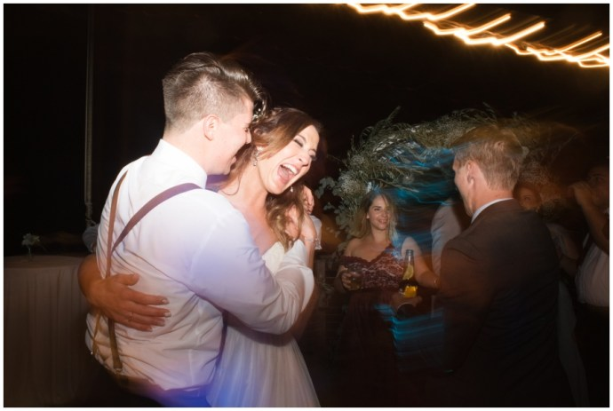 Bride and groom dancing under the stars during a Crystal Cove wedding