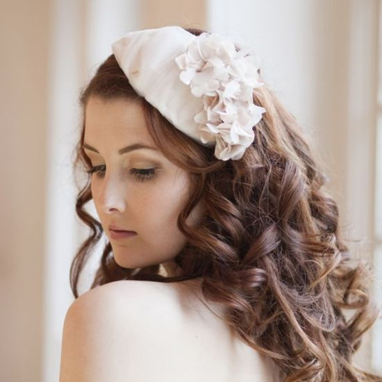 Cherry Blossom Tulle and Floral Bridal Cap
