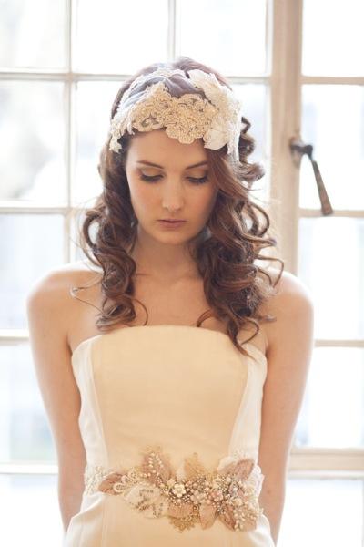 Vintage Milliner's Lace and Velvet  Bridal Cap