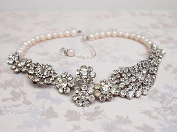 SOLD - Bespoke Art Deco Vintage Bridal Necklace No.108