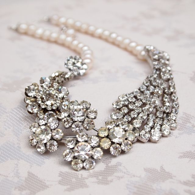 SOLD - Bespoke Art Deco Vintage Bridal Necklace No.108