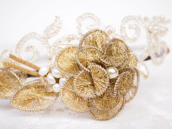SOLD - Vintage Gold Side Tiara No.123