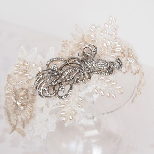 SOLD - Vintage Lace and Marcasite Bridal Headdress No.121