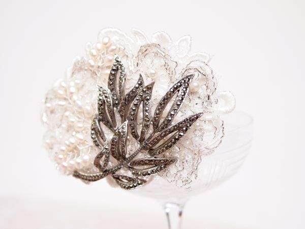 SOLD - Vintage Lace and Marcasite Bridal Comb No.122