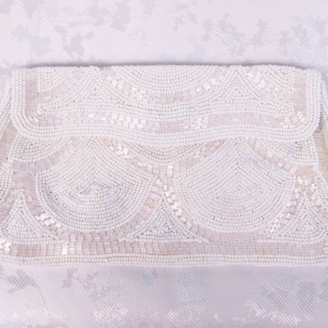 SOLD - Envelope Style Beaded Vintage Bridal Clutch Bag No.129