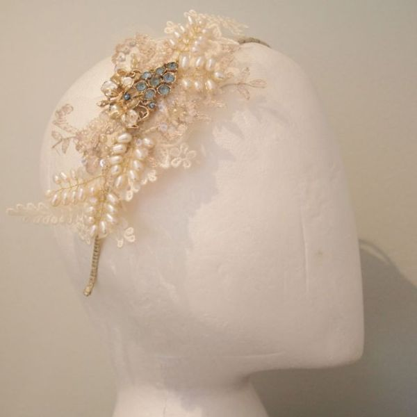 Vintage Lace, Pearl and Blue Rhinestone Headdress No.13113