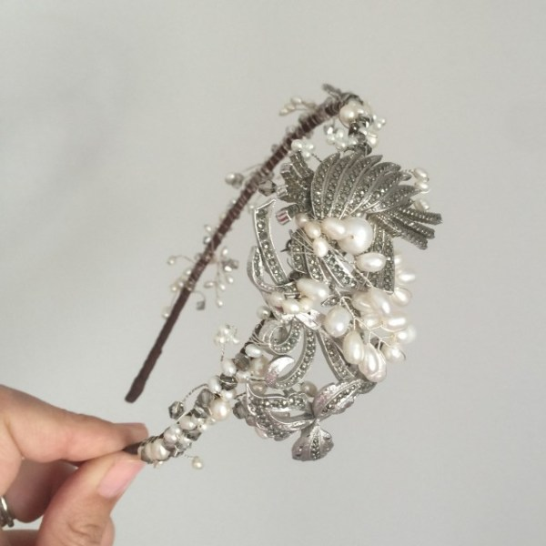 Vintage Marcasite and Pearl Side Tiara No.1505