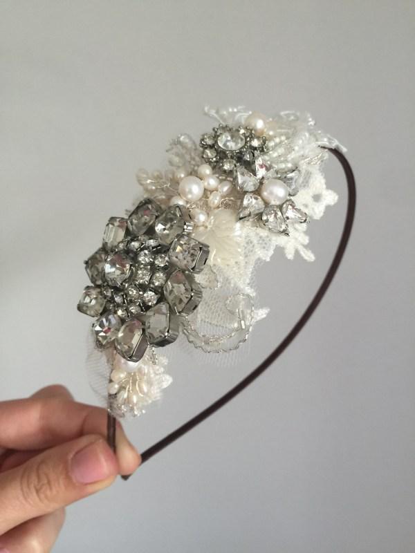 Vintage Lace and Rhinestone Side Tiara No.1506