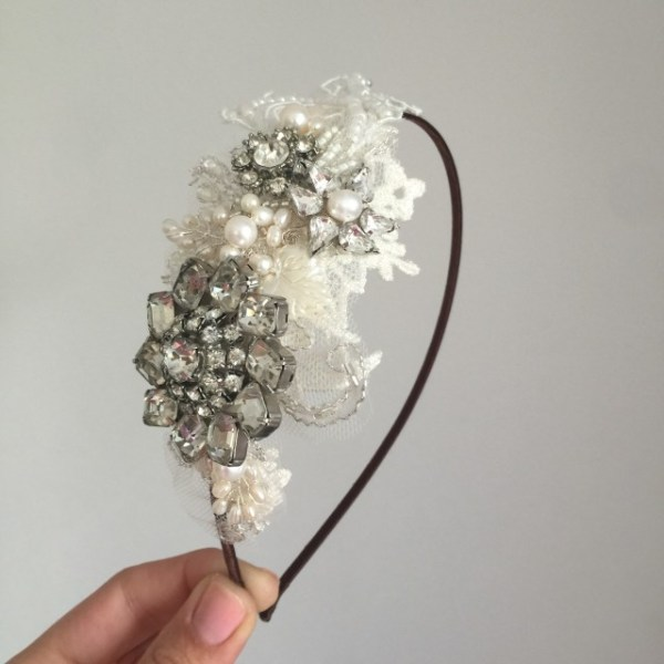 Vintage Lace and Rhinestone Side Tiara No.1506