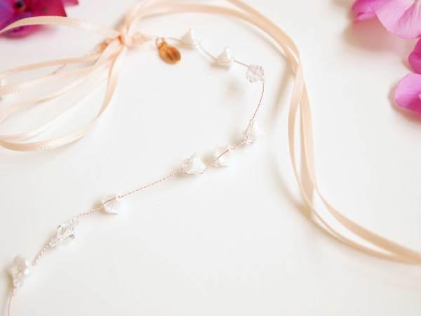 Ivory Glass Flower Handmade Bridal Halo