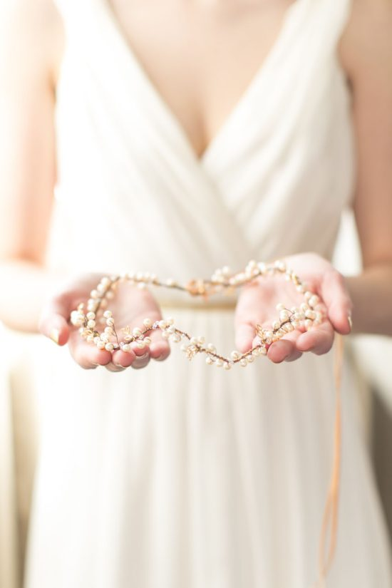 Autumn Pearl Handmade Bridal Halo