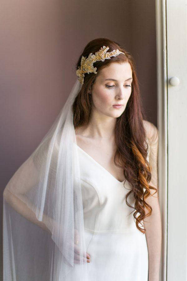 Handmade Gold Lace Bridal Headpiece