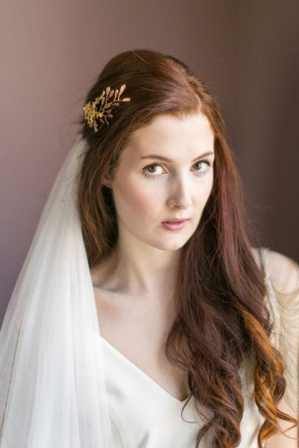 Handmade Gold and Crystal Bridal Comb