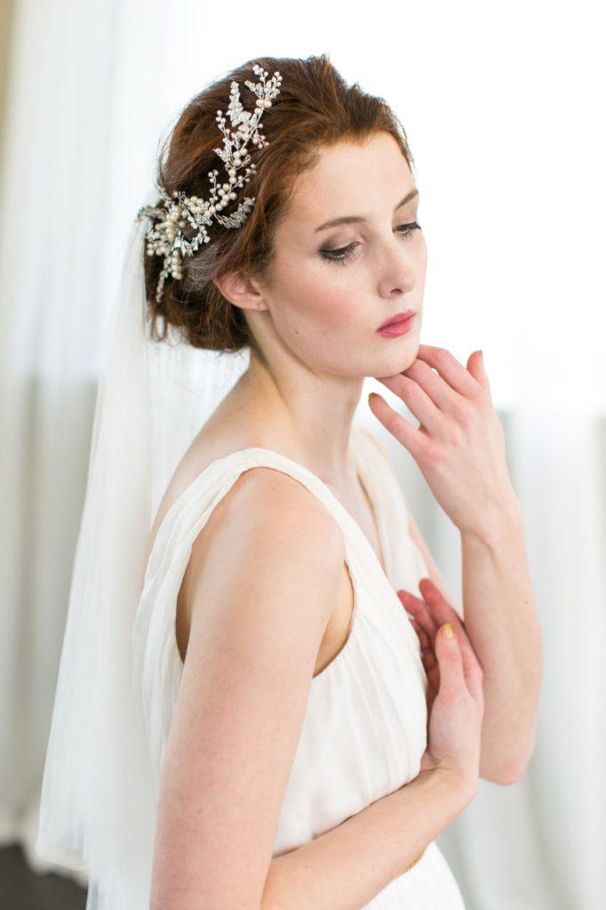 Handmade Floral and Pearl Brial Hair Vine
