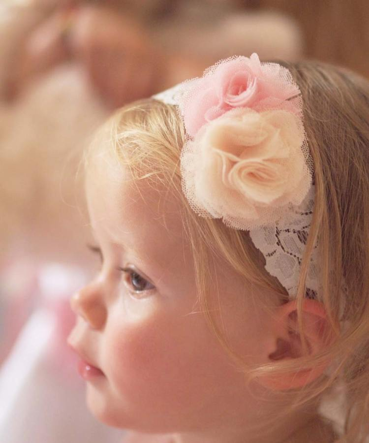 Ashley Lace Baby Headband in Pink and Peach