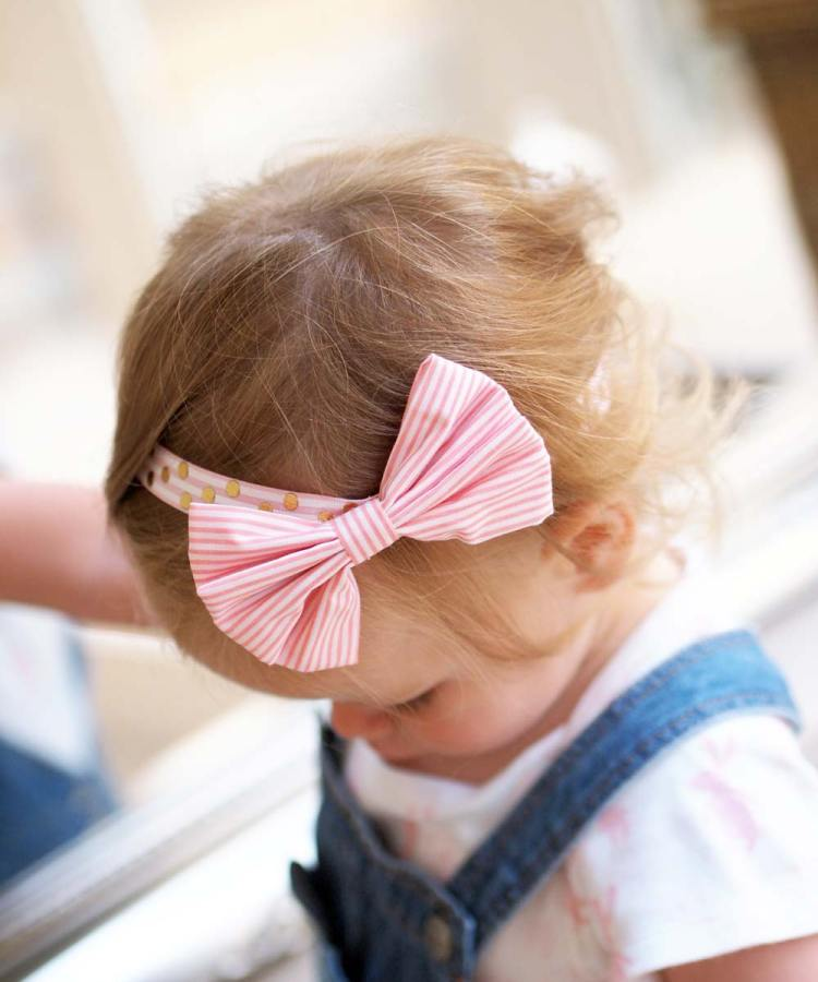 Pink Striped Girls Bow Headband
