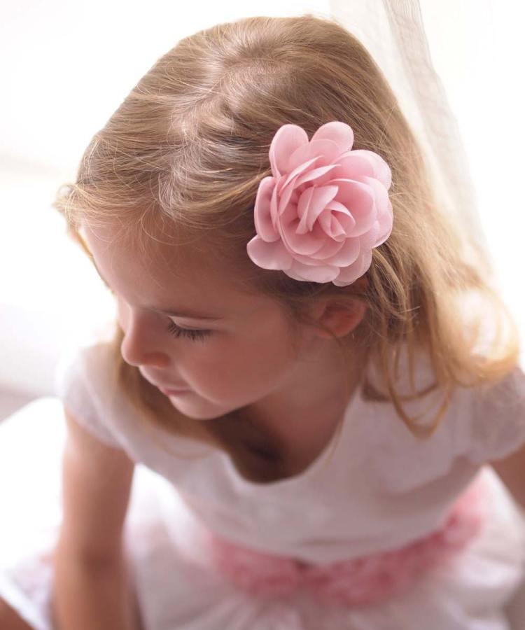 Baby Pink Girls Rose Hair Clip