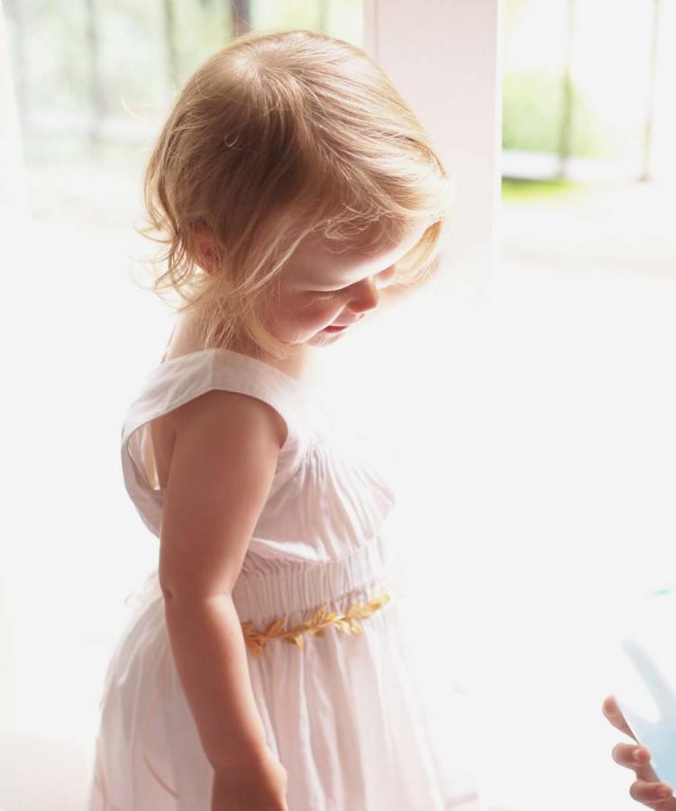 Flower girl gold sash belt