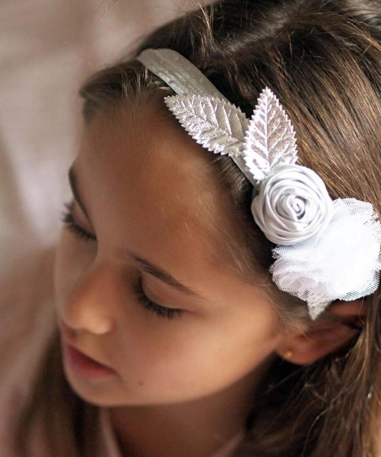 Silver floral flower girl headband