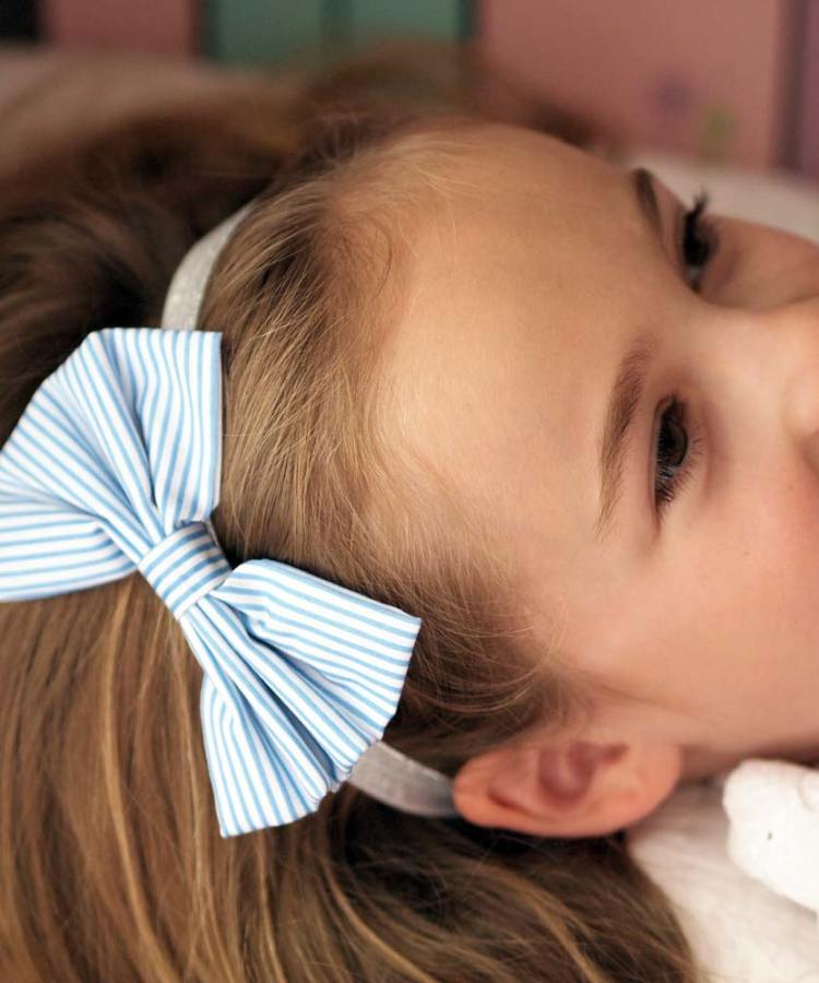 Preppy blue striped flower girl bow headband