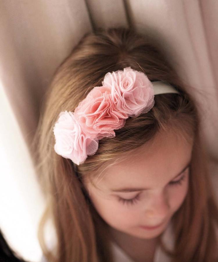 Pink Flowergirl Rose Headband