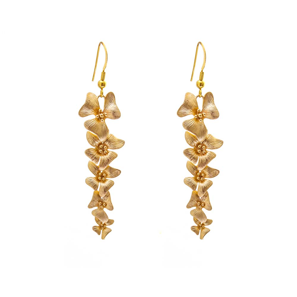 Gold Orchid Bridal Earrings