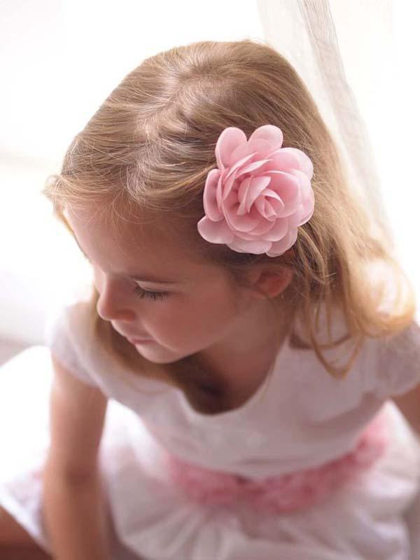 blush pink flower girl flower clip